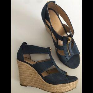 Michael Kors🌷Wedge Denim Zip Shoes Sz 9